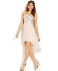As U Wish Juniors' Sequin High Low Dress Gold Blush