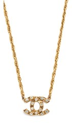 Wgaca Previously Owned Chanel Cc Necklace Gold Clear