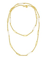 Majorica Simulated Pearl Station Necklace 36 White
