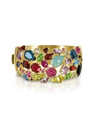 Forzieri Gold Plated Metal Bangle W Crystals