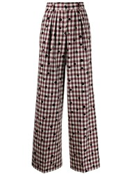 Tommy Hilfiger Wide Leg Checked Trousers Red