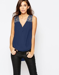 Tfnc Wrap Front Chiffon Top With Embellished Shoulder Navy