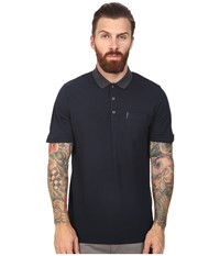 Ben Sherman Short Sleeve Micro Paisley Print Collar Polo Staples Navy Men's Clothing Black