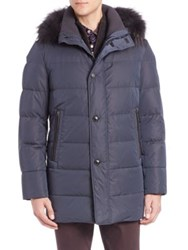 Saks Fifth Avenue Zipper Puffer Parka Jacket With Hood Navy