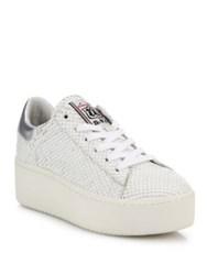 Ash Cult Snake Embossed Leather Platform Sneakers White Silver