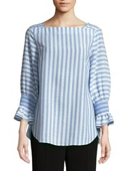 Jones New York Striped Smocked Sleeve Tunic China Blue