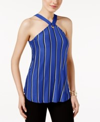 Cable And Gauge Striped Grommet Halter Top Surf The Web Blue Black White
