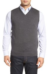 John W. Nordstrom V Neck Merino Wool Sweater Vest Gray