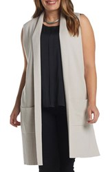 Tart Plus Size Women's Melva Cotton And Cashmere Open Front Sweater Vest Light Tan