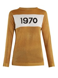 Bella Freud 1970 Round Neck Intarsia Knit Sweater Gold