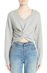 Alexander Wang Women's T By Twist Front Wool And Cashmere Sweater Heather Grey