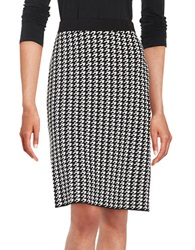 Nipon Boutique Houndstooth Knit Skirt Black Ivory