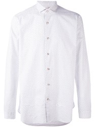 Dnl Grey Polka Dot Shirt Men Cotton 40 White