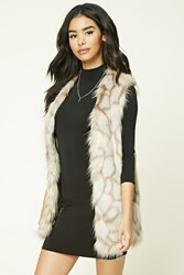 Forever 21 Geo Patterned Faux Fur Vest Grey Taupe