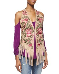 Haute Hippie Embroidered Leather Vest With Suede Fringe Women's Size M Black Brown Camel Multi