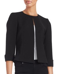 Tahari By Arthur S. Levine Petite Three Quarter Sleeve Open Blazer Black