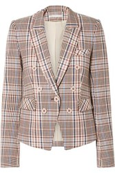 Veronica Beard Diego Dickey Double Breasted Houndstooth Cotton Blend Blazer Brown