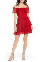 The Fifth Label National Ruffle Off Shoulder Dress Red