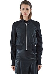 Rick Owens Cropped Leather Flight Bomber Jacket Black