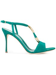 Sergio Rossi Gold Tone Detail Sandals Green