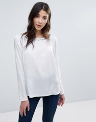 Vila Long Sleeve Top With Neck Embellishment White
