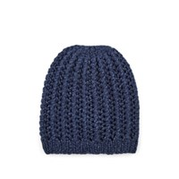 Barneys New York Herringbone Stitch Cashmere Beanie Navy