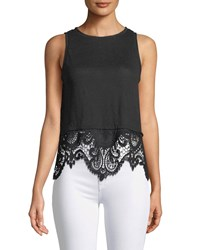 Generation Love Brigette Sleeveless Embroidered Back Linen Top With Lace Hem Black