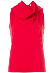 Ck Calvin Klein Draped Sleeveless Blouse Red