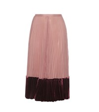 Valentino Silk And Velvet Pleated Skirt Pink