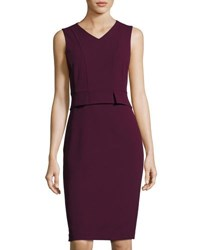 Catherine Malandrino Sleeveless Demi Peplum Sheath Dress Wine