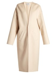 Loewe Collarless V Neck Coat Ivory
