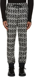 Versace Black And White Textured Lounge Pants