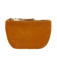 Maple Leather Zip Pouch Brown