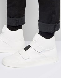 Asos High Top Trainers In White With Elastic And Straps White