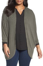 Sejour Plus Size Women's Ribbed Dolman Cardigan Olive