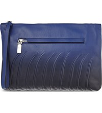 Alexander Mcqueen Rib Cage Zipped Leather Pouch Ultram Black