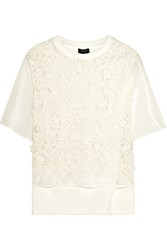 Giambattista Valli Embroidered Silk Organza And Cotton Top White