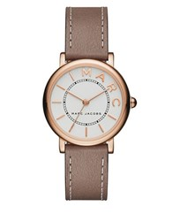 Marc Jacobs Roxy Rose Goldtone Stainless Steel And Leather White Satin Dial Strap Watch Taupe