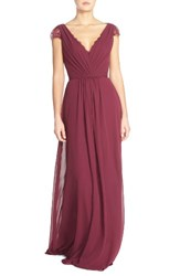 Hayley Paige Occasions Women's Lace And Chiffon Cap Sleeve Gown Burgundy
