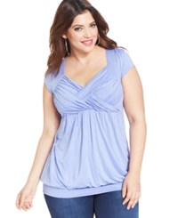Soprano Plus Size Cap Sleeve Ruched Empire Top Freesia