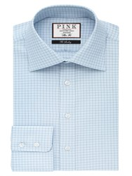 Thomas Pink Men's Joaquin Check Slim Fit Button Cuff Shirt Blue