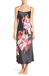 Natori Women's 'Imperial' Floral Print Long Nightgown Black Gold Multi