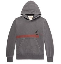 Remi Relief Distressed Printed Loopback Cotton Jersey Hoodie Dark Gray