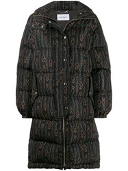 Salvatore Ferragamo Chains Print Puffer Jacket Black