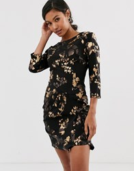 Little Mistress Floral Three Quarter Bodycon Dress Black