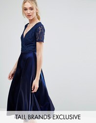 True Decadence Tall Wrap Front Lace Top Midi Prom Dress Navy