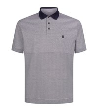 Z Zegna Striped Cotton Polo Shirt Male Grey