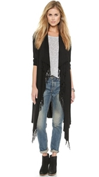 Jamison Fringe Cardigan Sweater Black