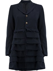 Comme Des Garcons Tiered Detail Mid Length Coat Women Polyester S Blue