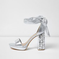 River Island Womens Silver Embellished Tie Up Platform Heels